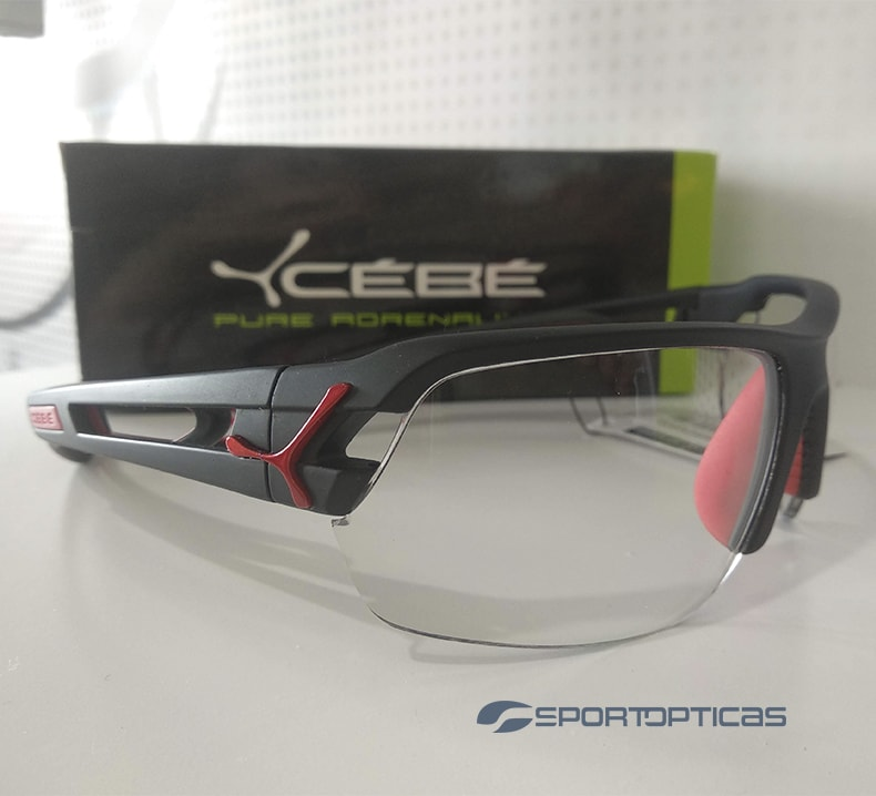 Ejemplo Cébé S'Track Black/Red graduada con lentes progresivas fotocromáticas